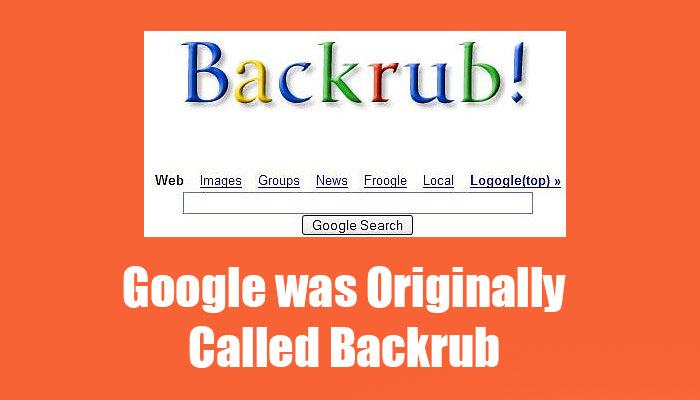 Google was originally called Backrub