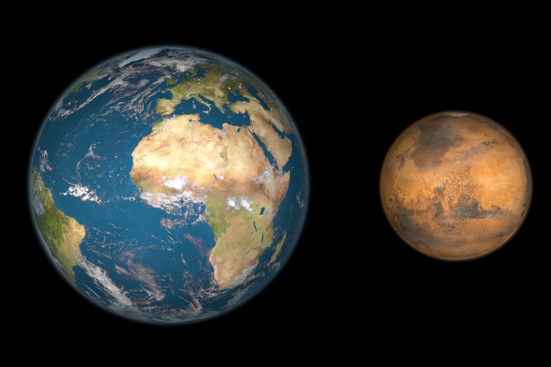 The diameter of the Mars is 6,779 km.