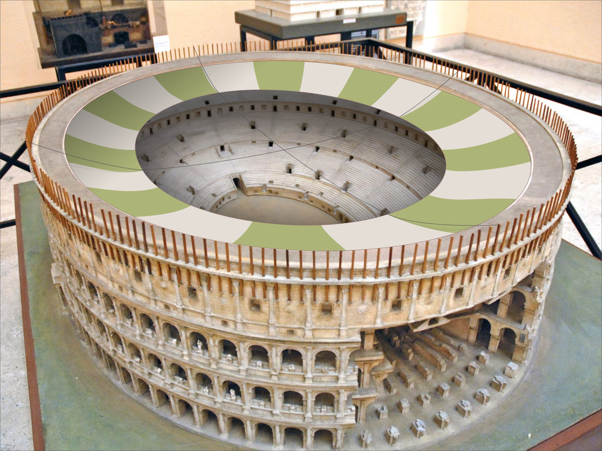 The Velarium covered one third of the Colosseum.