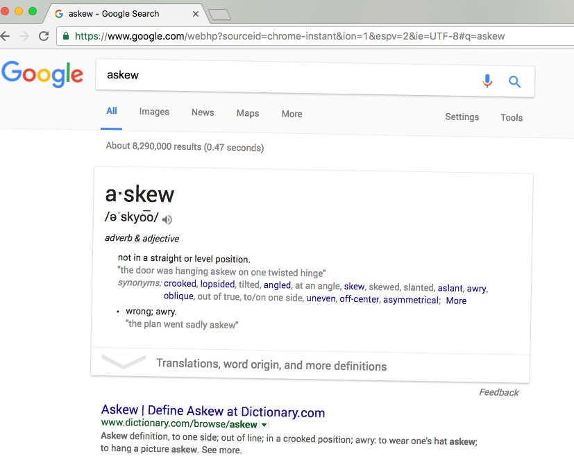 On typing the word askew