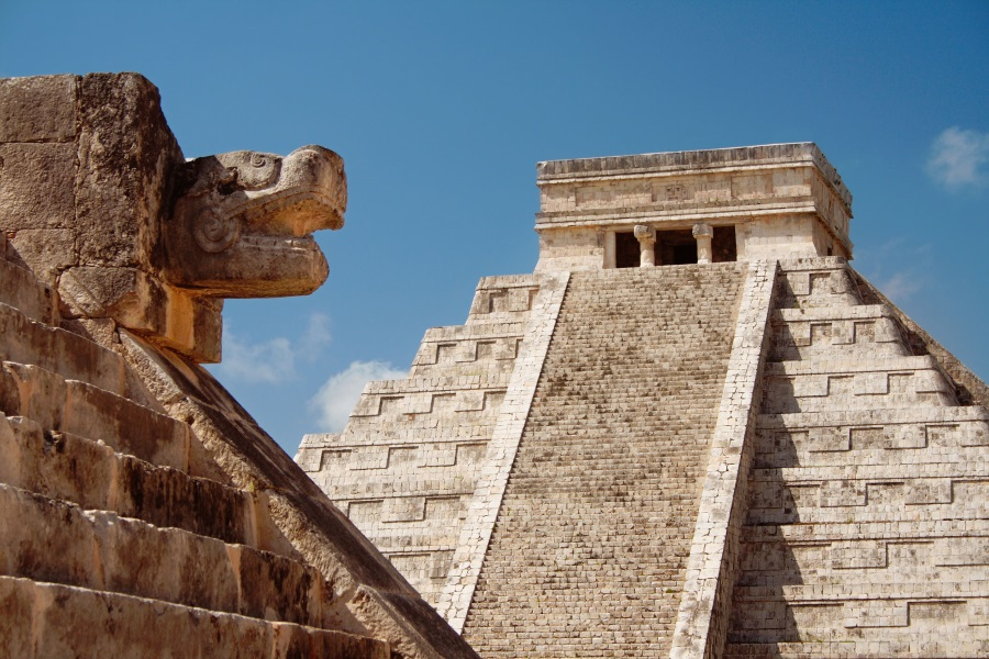 Chichen Itza is a large Mayan city famous for a large pyramid temple.