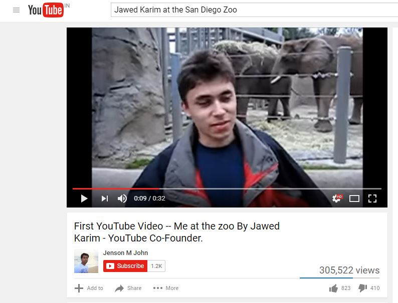 The First YouTube Video was uploaded by Jawed Karim at the San Diego Zoo on April 23, 2005.