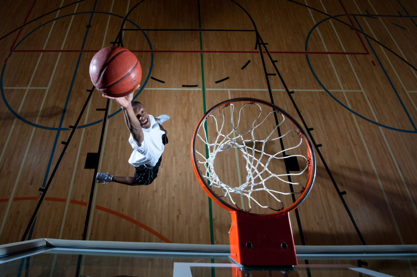 The steel rim of the basket has a diameter of 18 inches and is 10 feet high.