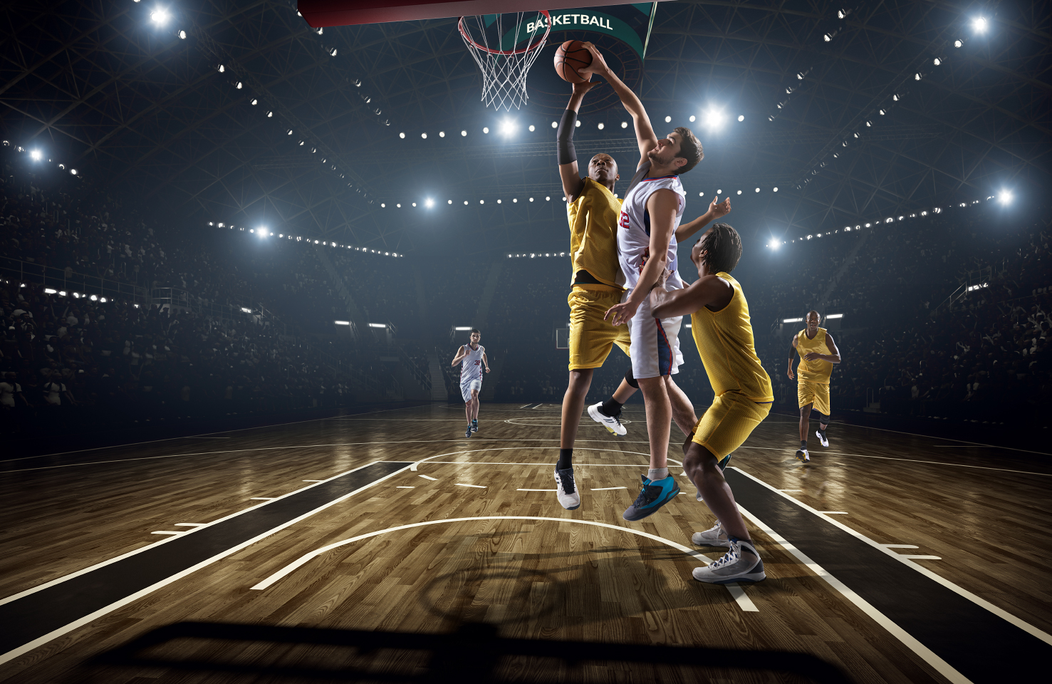 The positions of players in basketball are Point guard, Shooting guard, Small forward, Power forward and Center.