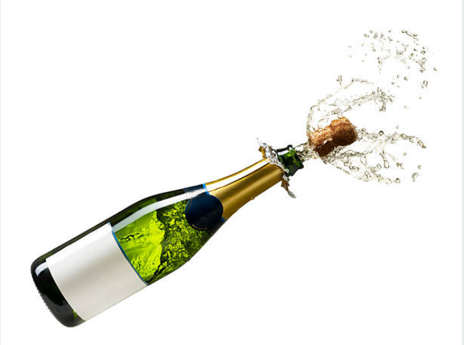 A popping champagne cork can reaches up to 64kmhour.