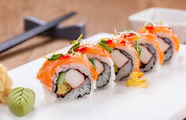 Avacado, cucumber and carrots are the most popular veggies used in Sushi.