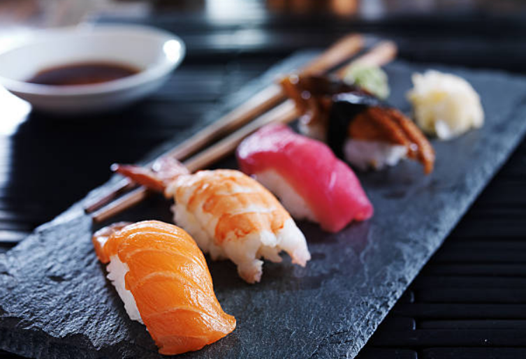 There are different types of sushi like maki, temaki, uramaki, sashimi, and nigiri.