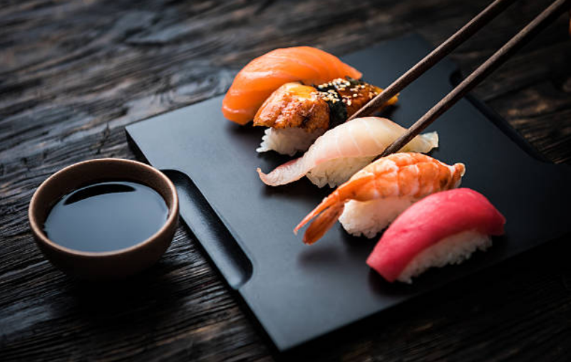 Wasabi is added to sushi to soften any fishy odors and draw out the flavor of fish.