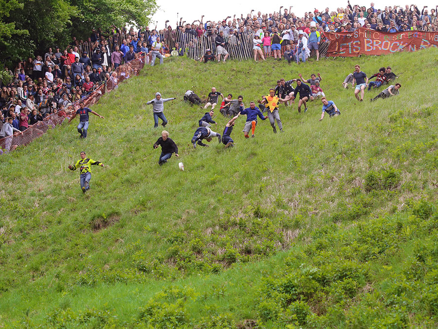 One of England's quaintest traditional event is the cheese rolling competition.