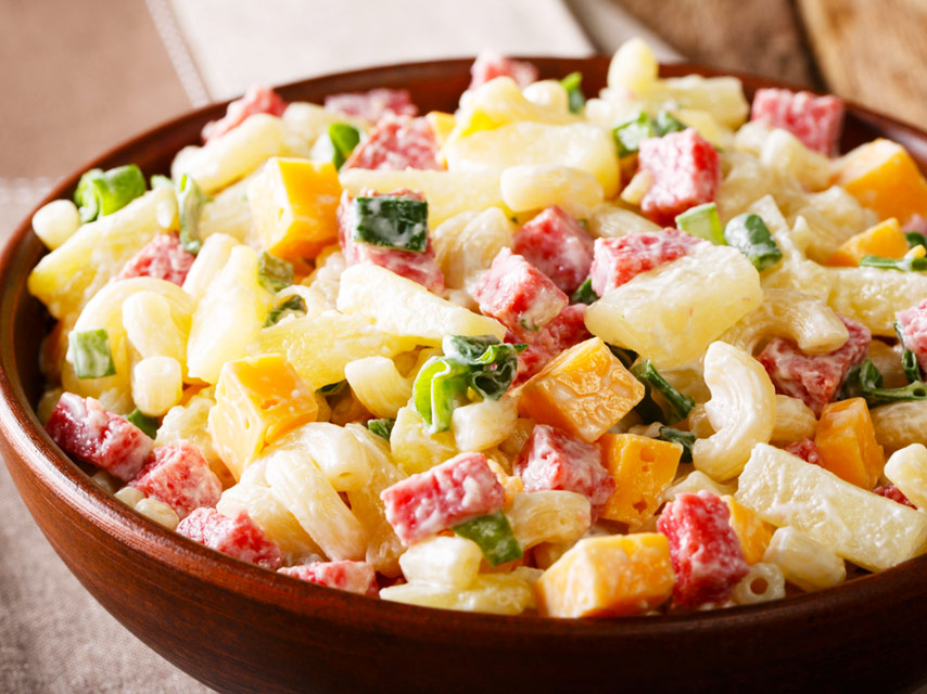 Chunks of pineapple are used in desserts /such as fruit salad, as well as in some savory dishes, including pizza toppings, or as a grilled ring on a hamburger.
