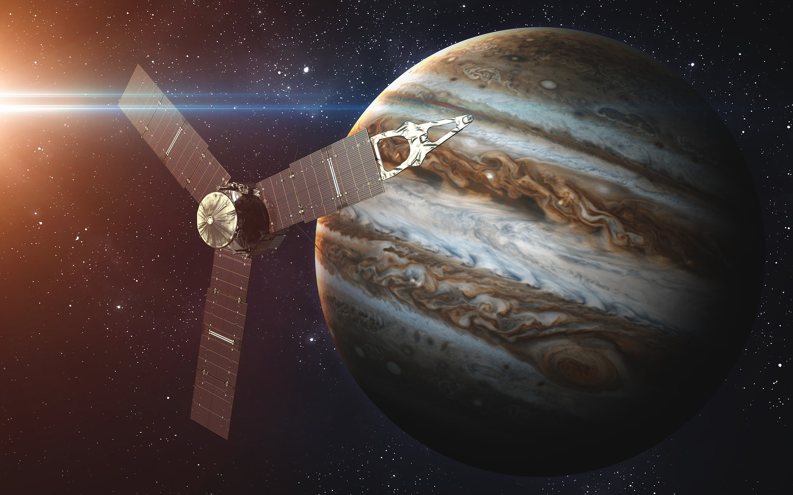 Jupiter completes one rotation around its axis in just under 10 hours.