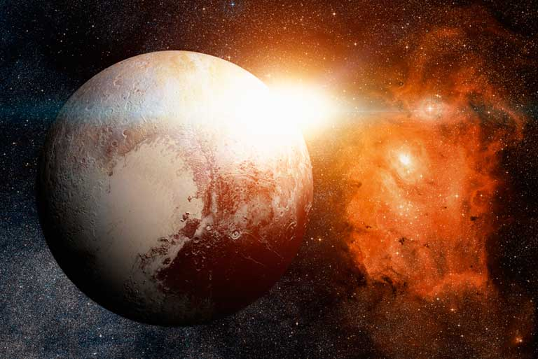 Sunlight takes 5 hours to reach Pluto as compared to only 8 minutes to reach Earth.