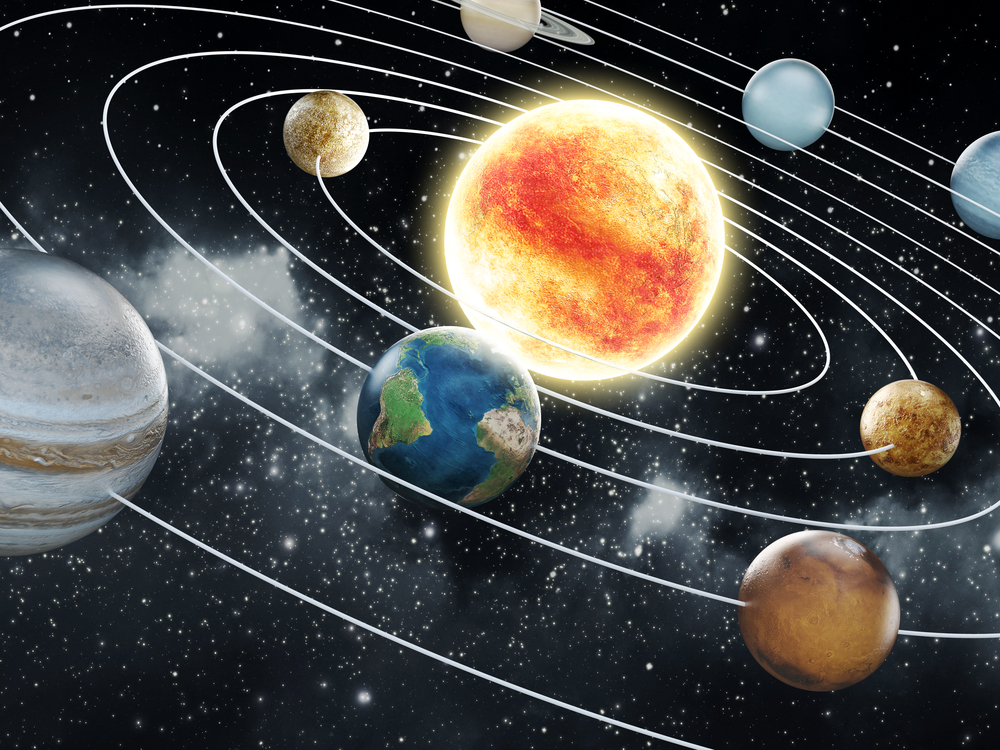 The Sun is a star found at the center of the Solar System.