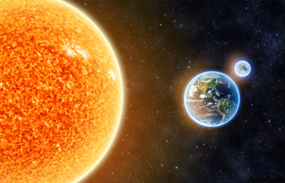 The Sun is one million times bigger than the Earth.