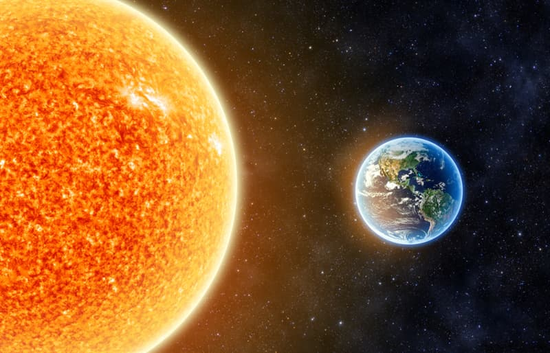 The diameter of Sun is about 110 times wider than Earth's.