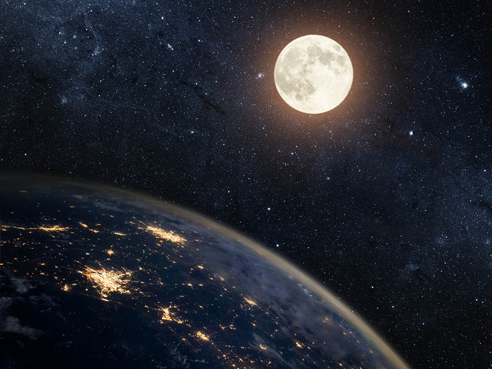 The moon travels at a speed of 3,683km/hr around the earth.