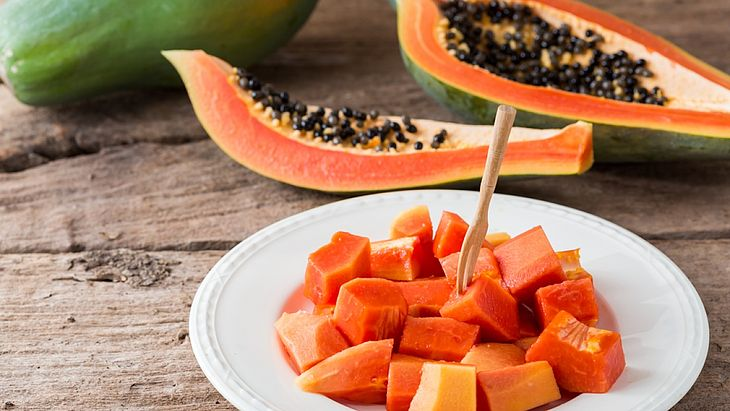Consumption of very large amounts of papaya may cause carotenemia, harmless yellowing of soles and palms.