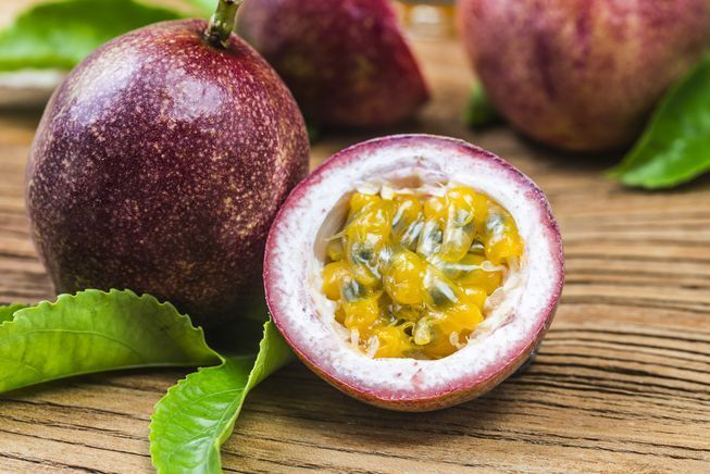 Purple passionfruit is approximately 2 to 3 inches in diameter.