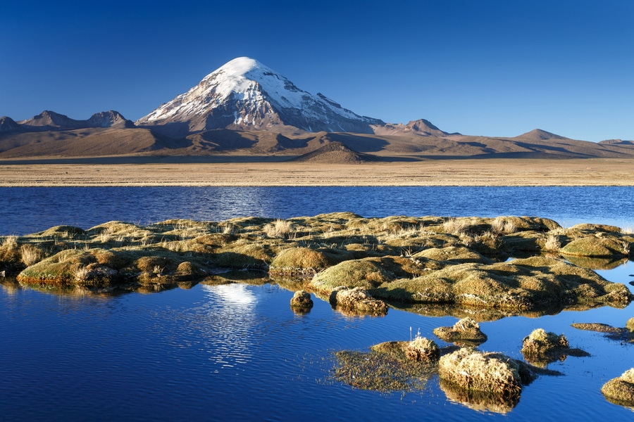 The highest point is the Nevado Sajama at 21,463 feet.